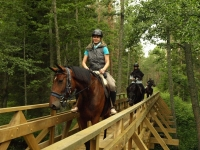 "Crossing the rivers on wooden bridges in <a href=""http://www.adventureride.eu/en/select-dates/empty_beaches_of_slitere_national_park/"">horseback riding vacation</a> in Slitere National park"