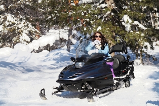 Outdoor guide snowmobile tour
